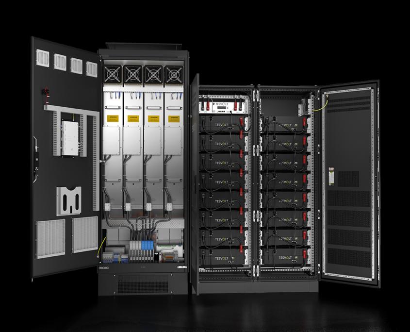Batteriespeicher für Landwirtschaft, Industrie und Gewerbe mit offenen Türen